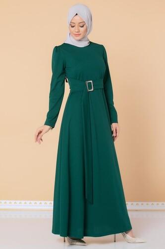 Modaebva - Toka Detaylı Tesettür Elbise-3021 Zümrütyeşili