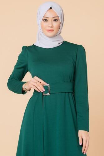 Modaebva - Toka Detaylı Tesettür Elbise-3021 Zümrütyeşili (1)