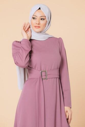 Modaebva - Toka Detaylı Tesettür Elbise-3021 Gülkurursu (1)