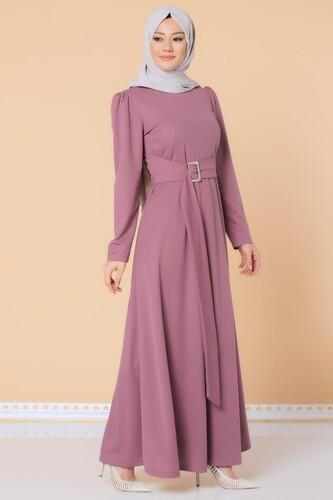 Modaebva - Toka Detaylı Tesettür Elbise-3021 Gülkurursu
