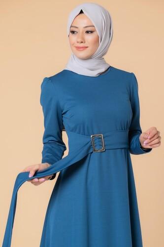 Modaebva - Toka Detaylı Tesettür Elbise-3021 İndigo (1)