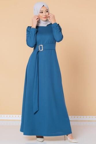 Modaebva - Toka Detaylı Tesettür Elbise-3021 İndigo