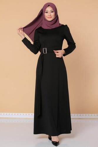 Modaebva - Toka Detaylı Tesettür Elbise-3021 Siyah