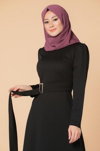 Modaebva - Toka Detaylı Tesettür Elbise-3021 Siyah (1)