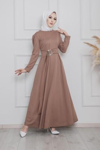 Modaebva - Toka Detaylı Tesettür Elbise-3021 Vizon