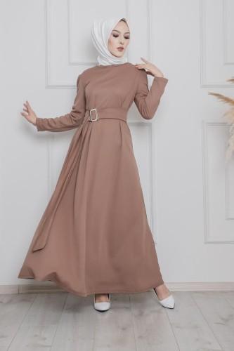 Modaebva - Toka Detaylı Tesettür Elbise-3021 Vizon (1)