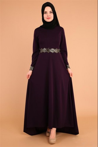 - Varak Ve İnci Detay Kuyruklu Elbise-3531Mor (1)
