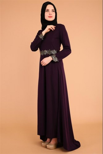 - Varak Ve İnci Detay Kuyruklu Elbise-3531Mor