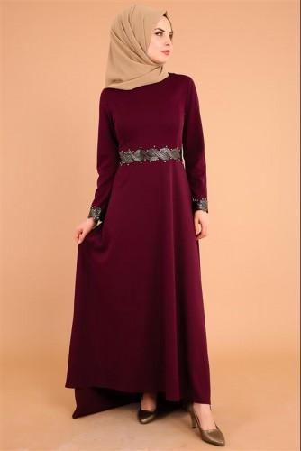 Modaebva - Varak Ve İnci Detay Kuyruklu Elbise-3531Mürdüm (1)