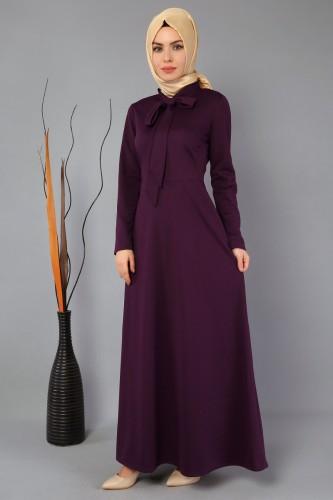 Modaebva - Yaka flarlı Elbise-3519Mor