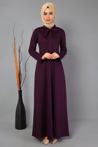 Modaebva - Yaka flarlı Elbise-3519Mor (1)