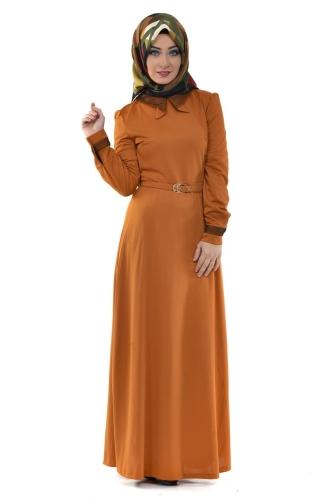 - Yaka Ve Sırt Detaylı Kemerli Elbise Hardal-4051
