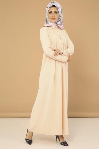 Modaebva - Yakalı Pileli Elbise-3559Somon