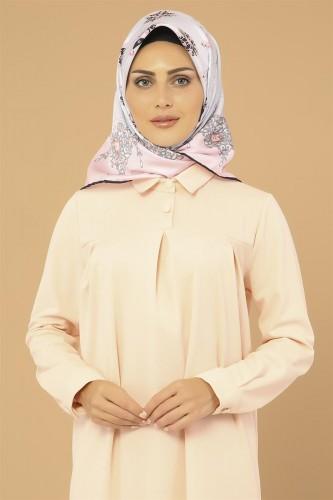 Modaebva - Yakalı Pileli Elbise-3559Somon (1)