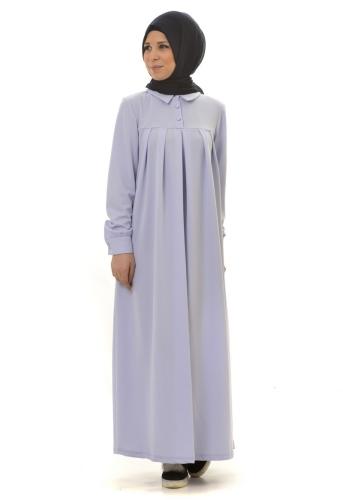 - Yakalı Pileli Elbise Bebe Mavisi-4016