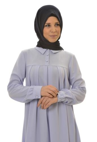 - Yakalı Pileli Elbise Bebe Mavisi-4016 (1)