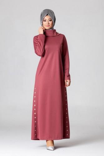 - Yandan Düğmeli Spor Elbise-0650 gülkurusu