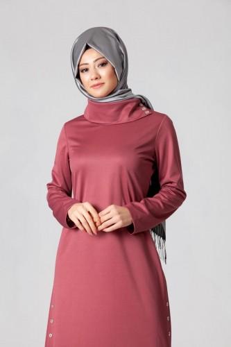 - Yandan Düğmeli Spor Elbise-0650 gülkurusu (1)