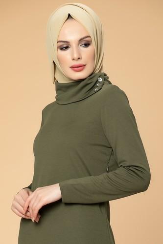 Modaebva - Yandan Düğmeli Spor Elbise-0650 Hakiyeşil (1)