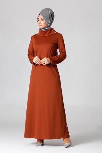 - Yandan Düğmeli Spor Elbise-0650 Kiremit