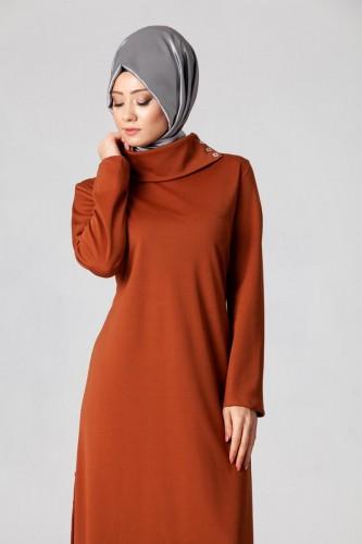 - Yandan Düğmeli Spor Elbise-0650 Kiremit (1)