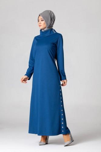 - Yandan Düğmeli Spor Elbise-0650 Mavi