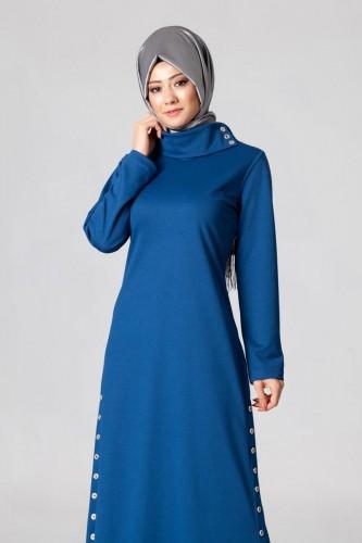- Yandan Düğmeli Spor Elbise-0650 Mavi (1)