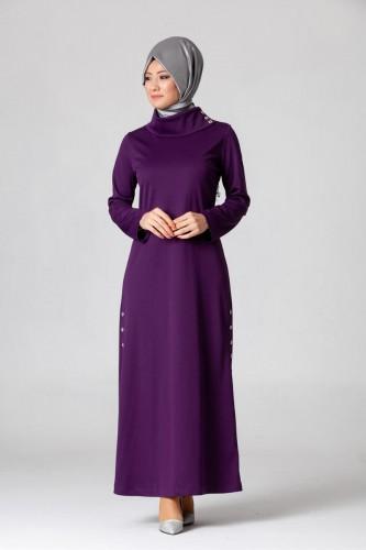 - Yandan Düğmeli Spor Elbise-0650 Mor