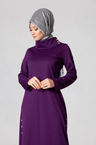 - Yandan Düğmeli Spor Elbise-0650 Mor (1)