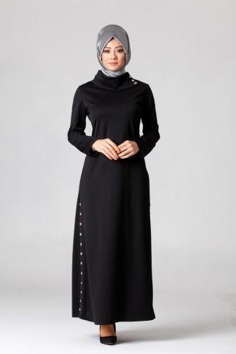 - Yandan Düğmeli Spor Elbise-0650 Siyah