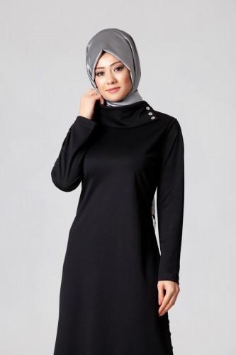 - Yandan Düğmeli Spor Elbise-0650 Siyah (1)