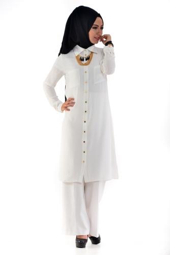 Modaebva - Yanlardan Yırtmaçlı Tunik Gömlek Beyaz-4026