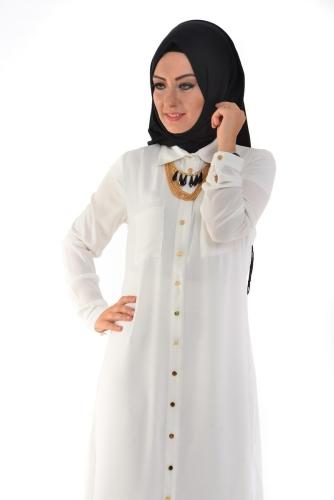 Modaebva - Yanlardan Yırtmaçlı Tunik Gömlek Beyaz-4026 (1)