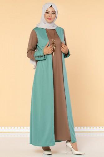 Modaebva - Yelek Görünümlü Kolyeli Tesettür Elbise-3032 Mint