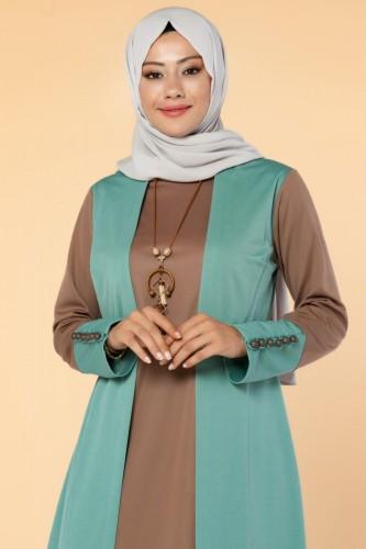 Modaebva - Yelek Görünümlü Kolyeli Tesettür Elbise-3032 Mint (1)