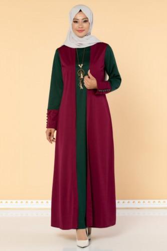 Modaebva - Yelek Görünümlü Kolyeli Tesettür Elbise-3032 Şarabi
