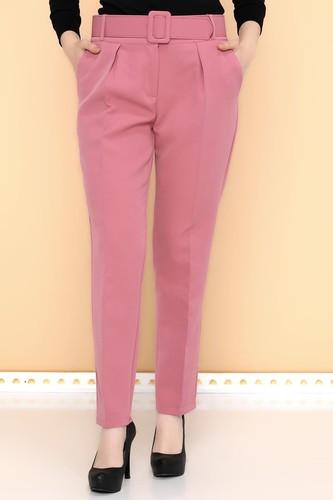 - Yüksek Bel Kalın Kemerli Pantolon-2098 Gülkurusu