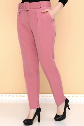 - Yüksek Bel Kalın Kemerli Pantolon-2098 Gülkurusu (1)
