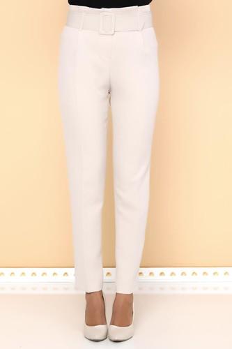 - Yüksek Bel Kalın Kemerli Pantolon-2098 Krem (1)