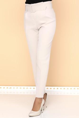 - Yüksek Bel Kalın Kemerli Pantolon-2098 Krem