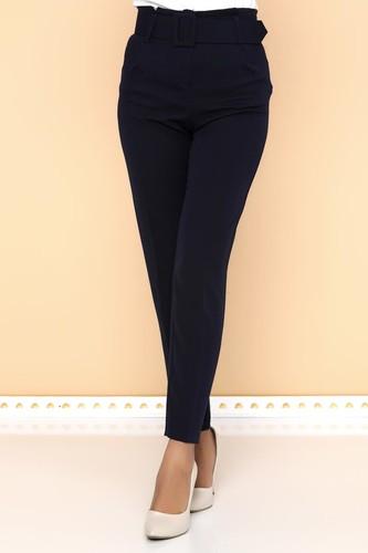 - Yüksek Bel Kalın Kemerli Pantolon-2098 Lacivert (1)