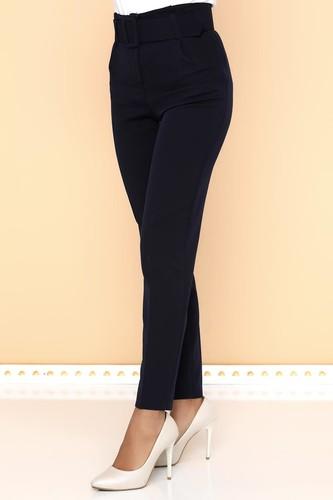 - Yüksek Bel Kalın Kemerli Pantolon-2098 Lacivert