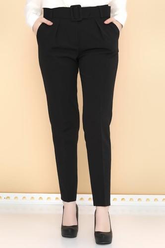 - Yüksek Bel Kalın Kemerli Pantolon-2098 Siyah (1)
