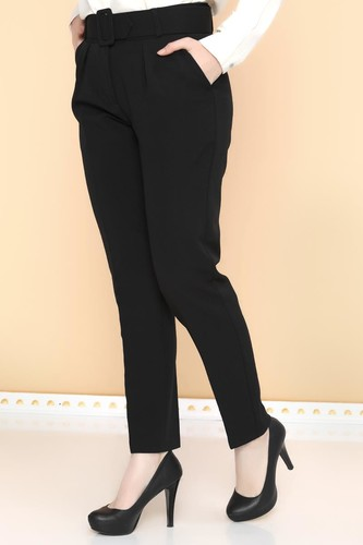 - Yüksek Bel Kalın Kemerli Pantolon-2098 Siyah